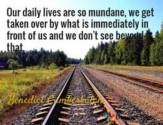 Our daily lives are so mundane, we get taken over by what is immediately in front of us and we don't see beyond that. / Benedict Cumberbatch