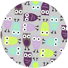 Ann Kelle Cuddle Minky, Night Owl Tiffany/Violet, $16/yd. use for changing pad cover