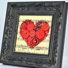 Button Art - Music of my Heart. Handmade by PaintedWithButtons