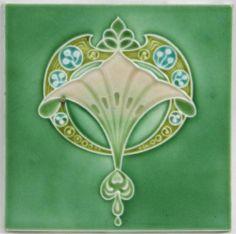 Superb Antique Art Nouveau Tile by Henry Richards c1906/9