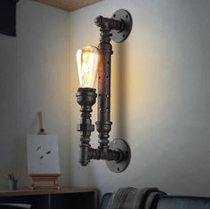 69.36$  Watch now - http://ali1as.worldwells.pw/go.php?t=32343404532 - Free shipping home decoration lighting industrial water pipe ancient color iron finished edison style retro wall lamp 69.36$