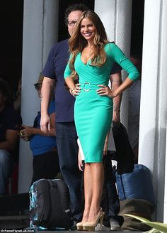 Can't look away: Vergara no doubt caught stares in her tight dress as she stood in front of the Fontainbleau Hotel in Miami, Florida