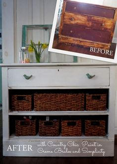 Dresser makeovers - when drawers won't slide, remove and add baskets.