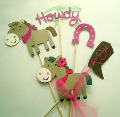 Horse Western Girls Party Decorations Cowgirl 5 Piece party pieces Cake Table decor Farm Birthday Country