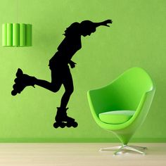 Roller Skate Wall Decals Woman Skating Sport Girl Vinyl Decal Sticker Gym Home Decor Vinyl Art Mural Kids Nursery Room Decor KG494 by WallDecalswithLove on Etsy https://www.etsy.com/listing/223775641/roller-skate-wall-decals-woman-skating