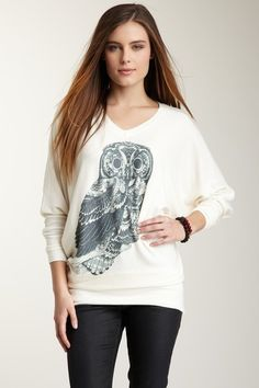 Lonely Owl Dolman Sleeve V-Neck Sweater by Go Couture on @HauteLook