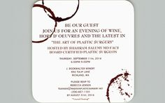 """JOIN US! Join us for an evening of fine wine, delicious hors d'oeuvres and an intimate look at the """"art of plastic surgery"""" with Dr. Shahram Salemy at the J. Bookwalter Winery in Richland, WA on September 11th. Space is limited so RSVP by August 31st!   RSVP to Rebecca Jensen by emailing rjensen@madisonplasticsurgery.net, calling our main line at (206) 467-1101 or leaving a voicemail for Rebecca."""