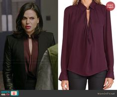 Regina's burgundy cowl neck keyhole blouse on Once Upon a Time.  Outfit Details: http://wornontv.net/40587/ #OUAT
