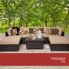 TKC Premier 7 Piece Outdoor Wicker Patio Furniture Set 07B 2 Yr Fade Warranty