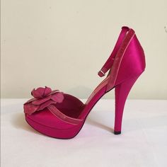 "SALE! Fuchsia Betsey Johnson Ankle Strap Heels Beautiful 4"" fuchsia ankle strap heels. Satin with velvet trim and leather flower accent. Great condition! Betsey Johnson Shoes Heels"