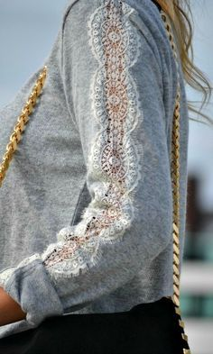 Beautiful touch in a simple shirt. Cut a section of a long sleeve shirt and · Lace TightsLace SweaterOld ...
