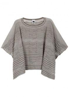 Grey cropped metallic-knit poncho