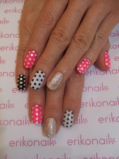 polka dot with pink, black, white, and gold