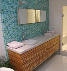 modern zebrawood bath vanity with Bisazzo glass mosaic tile wall by WrightWorks, LLC
