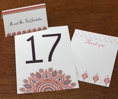 Henna inspired wedding day stationery. Table numbers, place cards, and thank you cards are all available in Wamil, the new Spring 2015 wedding design. Wamil | Invitations By Ajalon | www.invitationsbyajalon.com
