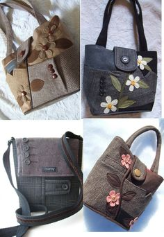 I have always wanted to make some of these cute purses from men's old suits. Of course I would need the old wool suits first, then a pattern, then time! - online shopping for purses, hand bag purse, handbags canada *ad Patchwork Bags, Quilted Bag, Diy Purse, Tote Purse, Handmade Purses, Purse Patterns, Denim Bag, Fabric Bags, Cute Bags