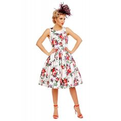 Annie Retro Roses Floral Swing Dress in White - Swing Dresses