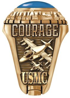 Here is the historic Harrier Emblem from the Marine Corps selection of unique emblems. Display this on one side of your custom made ring with text of your choice above the emblem. Usmc Ring, Marine Corps Rings, Graduation Gifts For Guys, Marines, Ring Designs, Rings For Men, Display, Unique, Floor Space