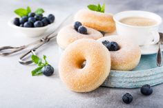 Homemade donuts with sugar photo by Merinka on Envato Elements Homemade Donuts, American Food, Snacks, Crepes, Nutella, Cupcake Cakes, Blueberry, Buffet, Bakery