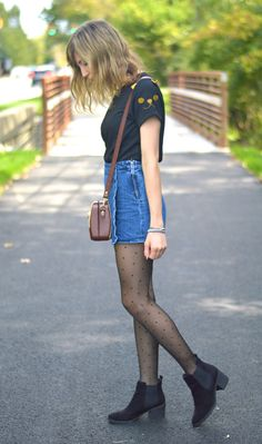 primary gal from alittlelau.com #cat #catshirt #tights #skort #ankleboots #vintage