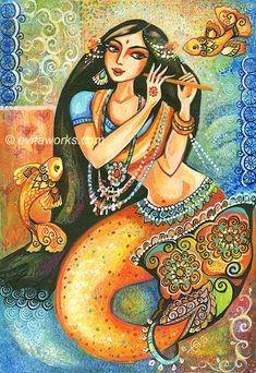 Mermaid Folk Fairy Art Goddess Sea Fish Ethnic India Devi Music Fantasy Woman Girl Painting - Aanandinii and the Fishes - Art Print 9.5x13. $16.00, via Etsy.