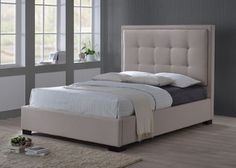 LuXeo Montecito King-Size Upholstered Bed in Palazzo Mist (Khaki) Fabric