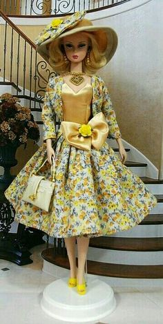 Silkstone BArbie in floral dress hat and purse