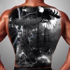 3D full back tattoo - 100 Awesome Back Tattoo Ideas