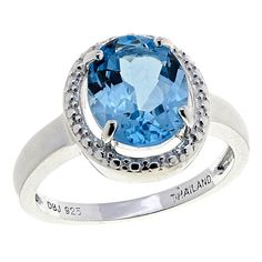 4e4a5523deb9fc Sevilla Silver™ 3.25ct Oval Blue Topaz Halo Ring Halo Engagement Rings,  Engagement Ring