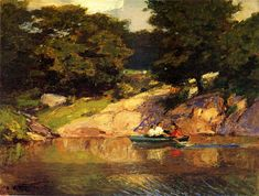 Boating in Central Park, Edward Potthast (1900-1905), Museum of Fine Arts - Houston, oil on board