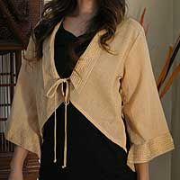 Cotton blouse, 'Thai Sands' by NOVICA
