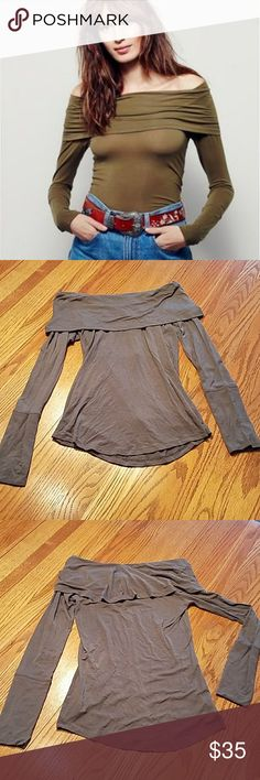 Free People | Cassiopia Cowl Top Free People cosmo cowl long sleeve fitted top.  Supersoft lightweight material.  Slight imperfection on front right at top of cowl, not noticeable when on due to ruching of material.  - NWOT/Tag cut - Color: olive Free People Tops Tees - Long Sleeve
