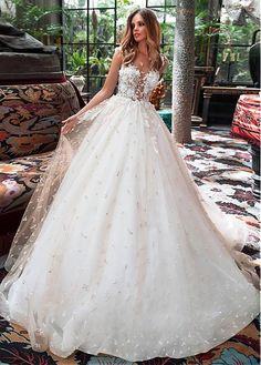 Attractive Tulle Jewel Neckline See-through Bodice A-line Wedding Dress With Lace Appliques & Beadings