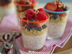Berry Breakfast Quinoa - 1/4 c milk; 2 containers (6 oz each) Yoplait® Original 99% Fat Free French vanilla, strawberry or harvest peach yogurt; 4 tsp chia seed; 1 c cooled cooked quinoa (1/4 c uncooked); 2 c fresh fruit (mixed berries or chopped peaches); 1/4 cup coarsely chopped toasted almonds or pecans; 1/8 ts ground cinnamon