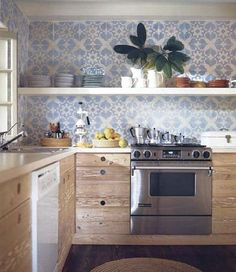 love the open shelves, rustic cabinets, sleek design, and of course the wall paper tiled background kitchen love