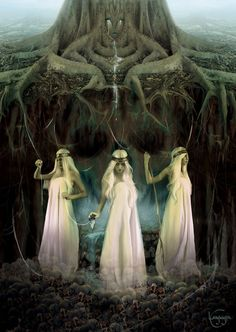 The Norns (Old Norse: norn, plural: nornir) in Norse mythology are female beings who rule the destiny of gods and men, a kind of dísir comparable to the Fates in Greek mythology.   The 3 most important Norns, Urðr (Wyrd), Verðandi and Skuld come out from a hall standing at the Well of Urðr (well of fate) and  draw water from the well. These Norns are described as 3 powerful maidens whose arrival ended the golden age of the gods.