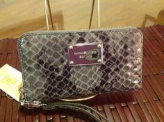 Michael Kors Wristlet Wallet Phone Case Grey Reptile Leather $99