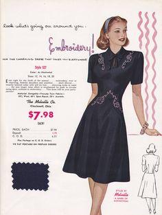 Vintage Fashion Advertising Women's Dress 1950's Great Frameable  Retro Art. $19.43, via Etsy.