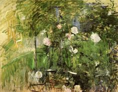 Berthe Morisot A Corner of the Rose Garden, painting Authorized official website Anime Comics, Rudolf Von Alt, A4 Poster, Poster Prints, French Impressionist Painters, Berthe Morisot, Edouard Manet, Garden Painting, Oil Painting Reproductions