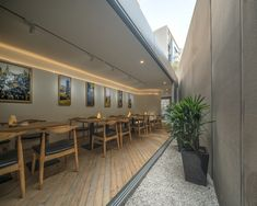 Image 12 of 59 from gallery of Small Cafe Designs: 20 Aspirational Examples in Plan & Section. Photograph by Lu Hengzhong Small Restaurant Design, Small Cafe Design, Modern Restaurant, Cafe Restaurant, Restaurant Ideas, Shanghai, Exterior Design, Interior And Exterior, Gallery Cafe