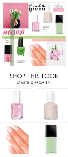 """""""Pink and green spring mani"""" by rheeee ❤ liked on Polyvore featuring beauty, Essie, Elegant Touch, Illamasqua and NARS Cosmetics"""