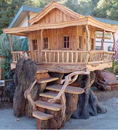 A little tree fort was created out of the tree.
