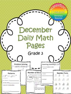 December Daily Math Pages (Focus on Patterns) Math Test, 5th Grade Math, Grade 3, Math Activities, Teacher Resources, Teaching Ideas, Classroom Resources, Classroom Themes, Math Made Easy