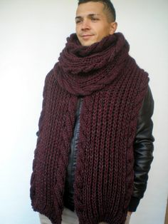 Extralong Cable   Rib Chunky  Scarf Hand Knit Men by NonnaLia