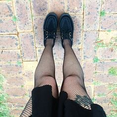 "Kaicee on Instagram: ""Can never wear too much black  #ootd#legs#fishnets#tights#creepers#tuk#platforms#flatforms#dress#thightattoo#tattoo#ink#blackonblack#gothic#grunge#alternative#style#fashion#fashionblogger#nutkaic"""