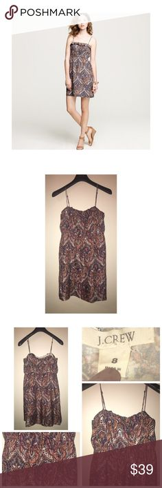 J.Crew Candace Dress Like•New J.Crew Candace Dress in Paisley • Size 8 • Made of 100% Silk • Adjustable straps • Fully lined • Excellent condition • Retails for $148 J. Crew Dresses