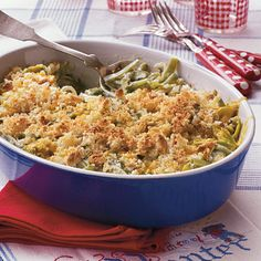 Green Beans Supreme Not your usual green bean casserole, this one is loaded with sour cream and cheese and has a white sauce instead of canned soup.