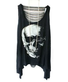 """Punk Style Skeleton Print T-shirts with Sexy Fringe Back from Chicnova .. I like punky stuff but not the trashy """"I haven't showered for a week"""" shit. This is really cool."""
