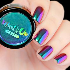 Use this ultra fine powder of green, purple, pink and a hint of gold… - coffin #nails #nailscoffin #coffinnails