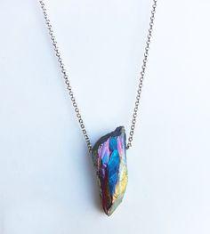 Rainbow Quartz Necklace by NaZariJewelry on Etsy https://www.etsy.com/listing/185465484/rainbow-quartz-necklace